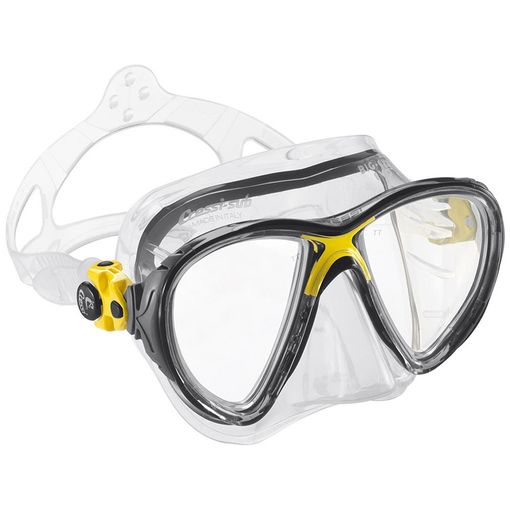 Cressi Big Eyes Evolution diving mask in Clear/Yellow