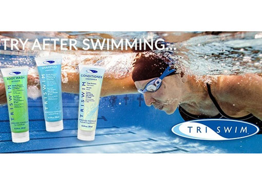 Safely eliminate chlorine odour and irritation with TriSwim shampoo, conditioner and body wash